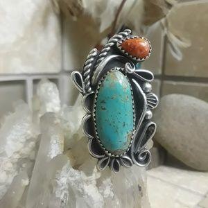 Vtg.Navajo Sterling Turquoise Ring